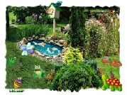 Greeting Card Garden Scene