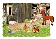 Greeting Card Party at the Farm Scene